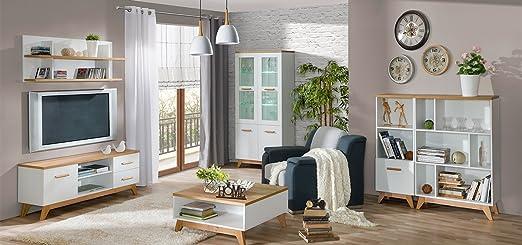 smartbett wohnwand wohnzimmer sven 01 6 tlg kiefer weiss eiche natur