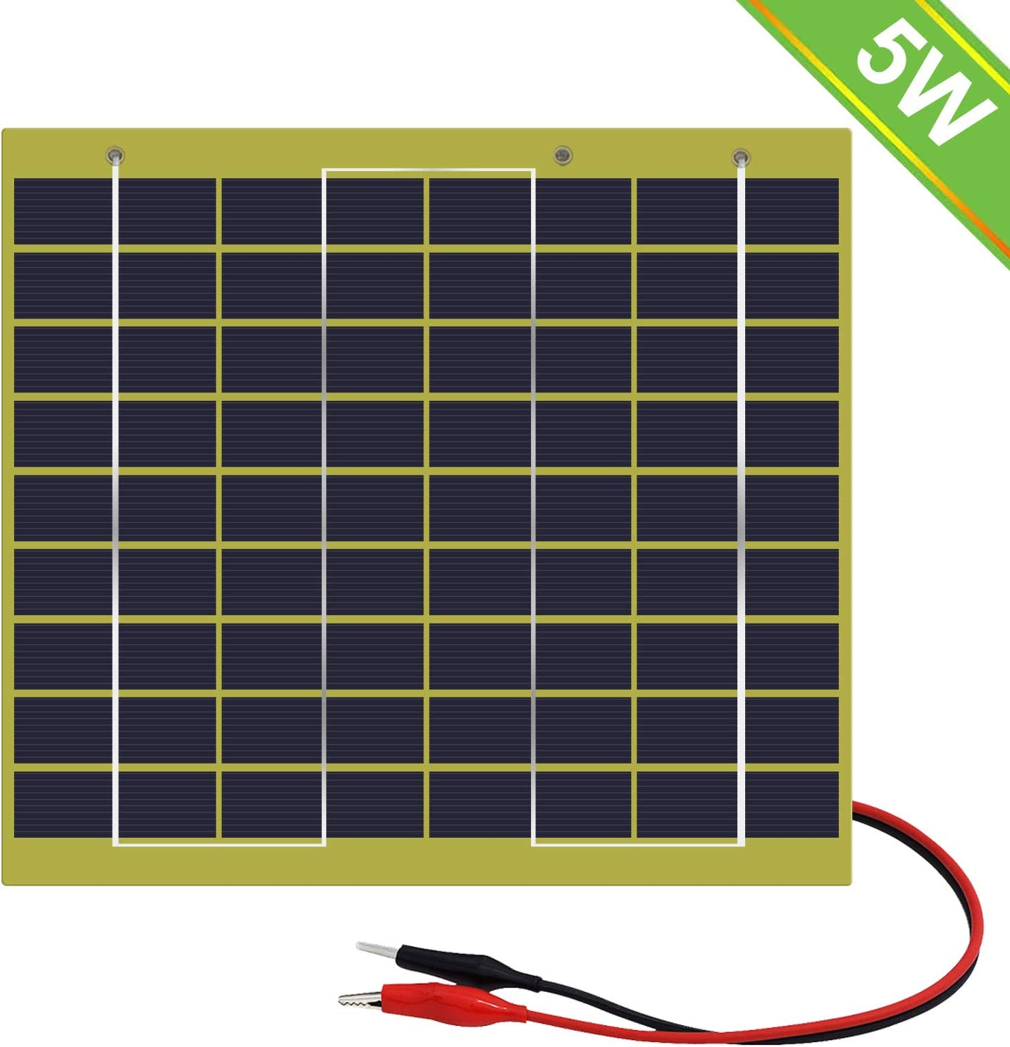 ECO WORTHY 5W 12V Epoxy Solar Panel Module Battery Charger with Battery Clips Diode Easy Carry for Camping