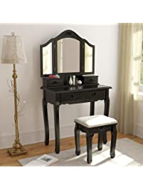 tribesigns vintage vanity makeup table set 3 mirror and stool set antique dressing table with