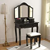 Tribesigns Vintage Vanity Makeup Table Set, 3 Mirror and Stool Set Antique Dressing Table with 4 Drawers , Black