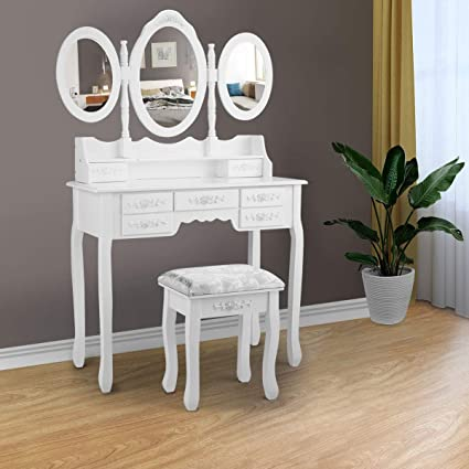 Amazon Com Tobbi Dressing Vanity Table 3 Mirror W 7 Drawer Makeup