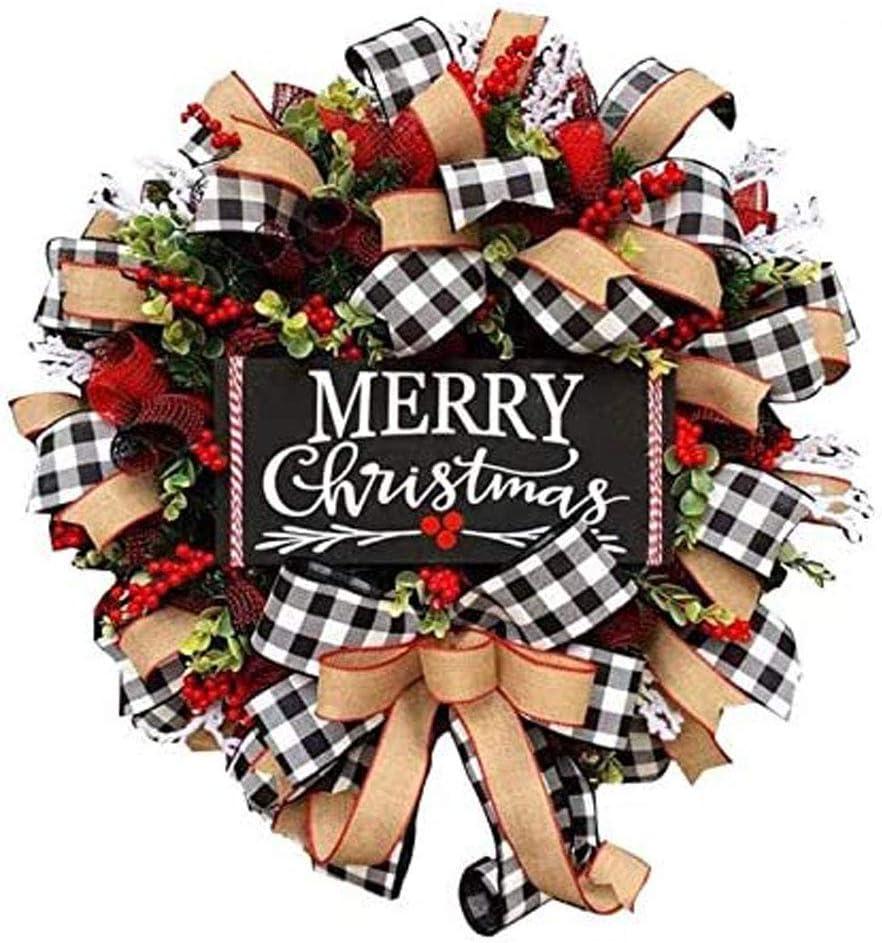 Christmas Wreath, Merry Christmas Snowflake Wreath, Burlap Wreath Holiday Decor, Buffalo Plaid Ribbon Garland Farmhouse Wreath