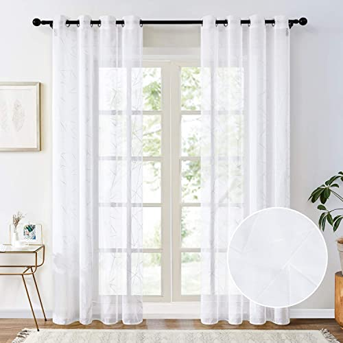 Topfinel Printed White Sheer Curtains 96 Inches Long Faux Linen Grommet Geometry Pattern Window Curtains for Bedroom Living Room, 2 Panels