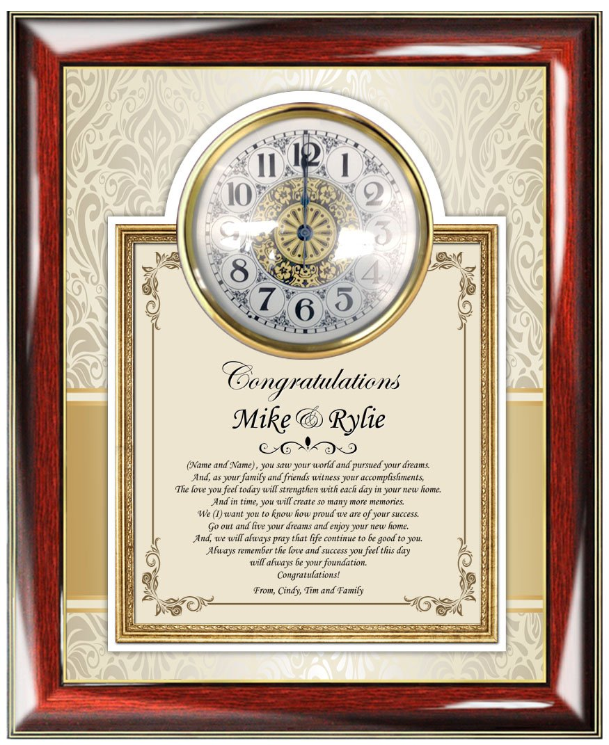 Custom Poetry Congratulation Gift Poetry Clock Frame Plaque Housewarming Gifts Presents New Homeowner Welcome to Your New Home Wall Clock
