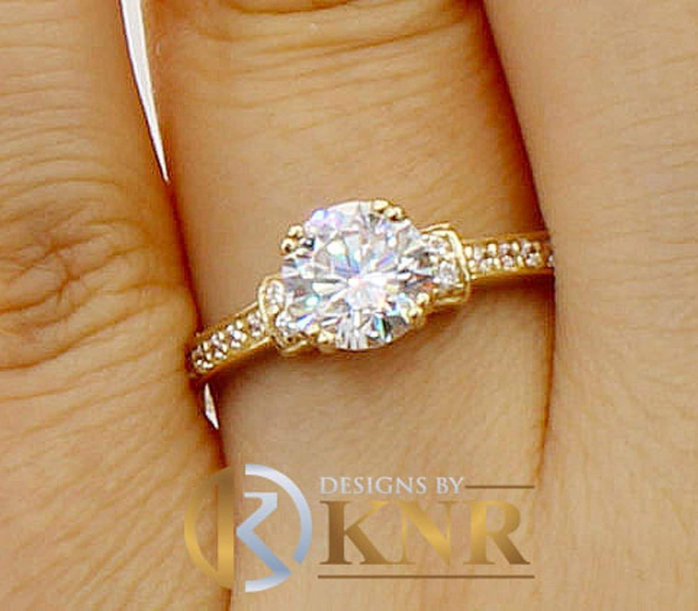 14k Solid Yellow Gold 1.25 Ct Round Cut Diamond Engagement Wedding Ring
