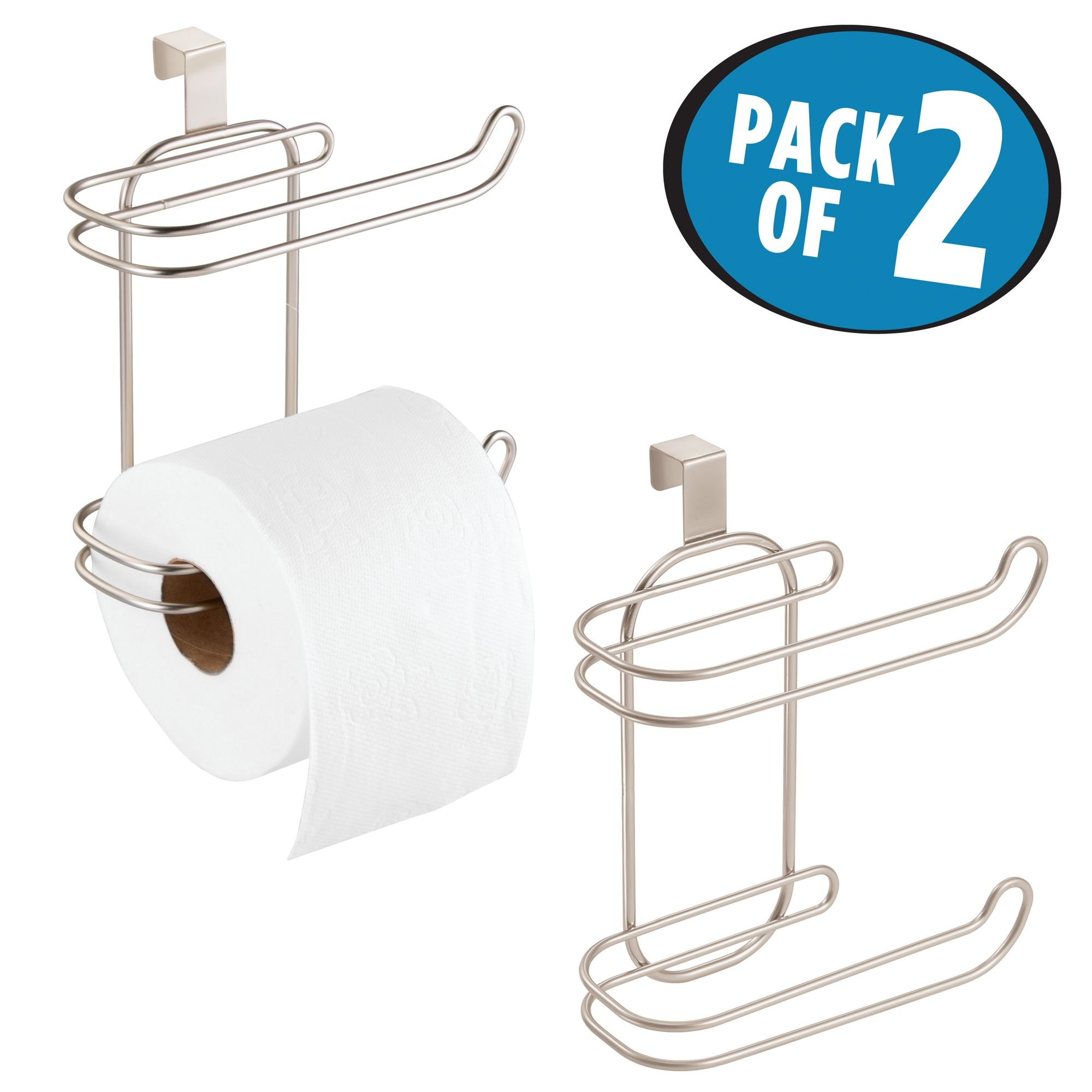 mDesign Compact Hanging Over the Tank Toilet Tissue Paper Roll Holder and Dispenser for Bathroom Storage - Holds 1 Extra Roll - Space Saving Design - Pack of 2, Durable Metal Wire in Satin Finish