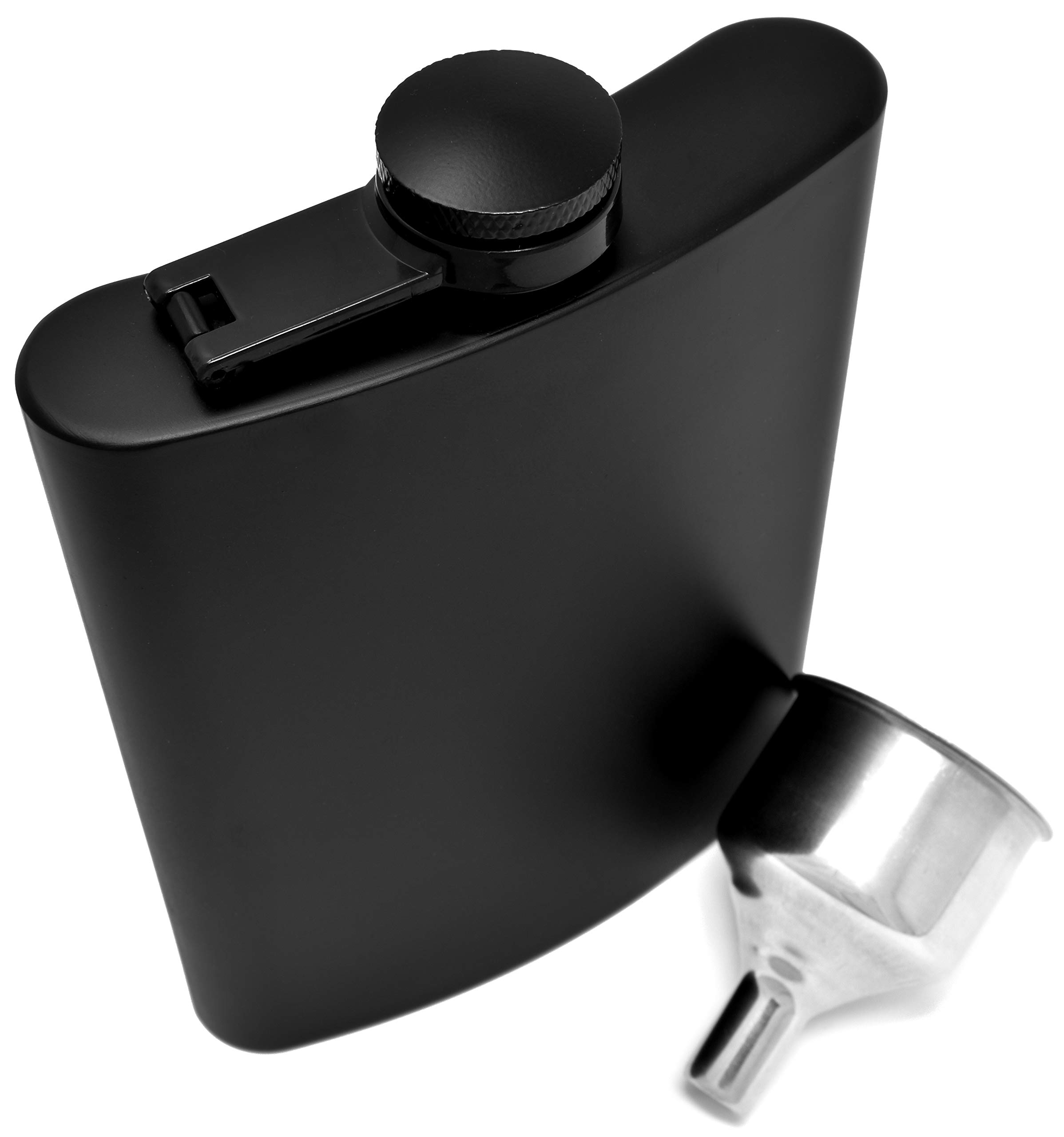 Hip Flask For Liquor 8 oz Stainless Steel Matte Black Leakproof in Premium Gift Box With Big Funnel For Men & Women for Perfecting Your Drinking Experience by IDALIO