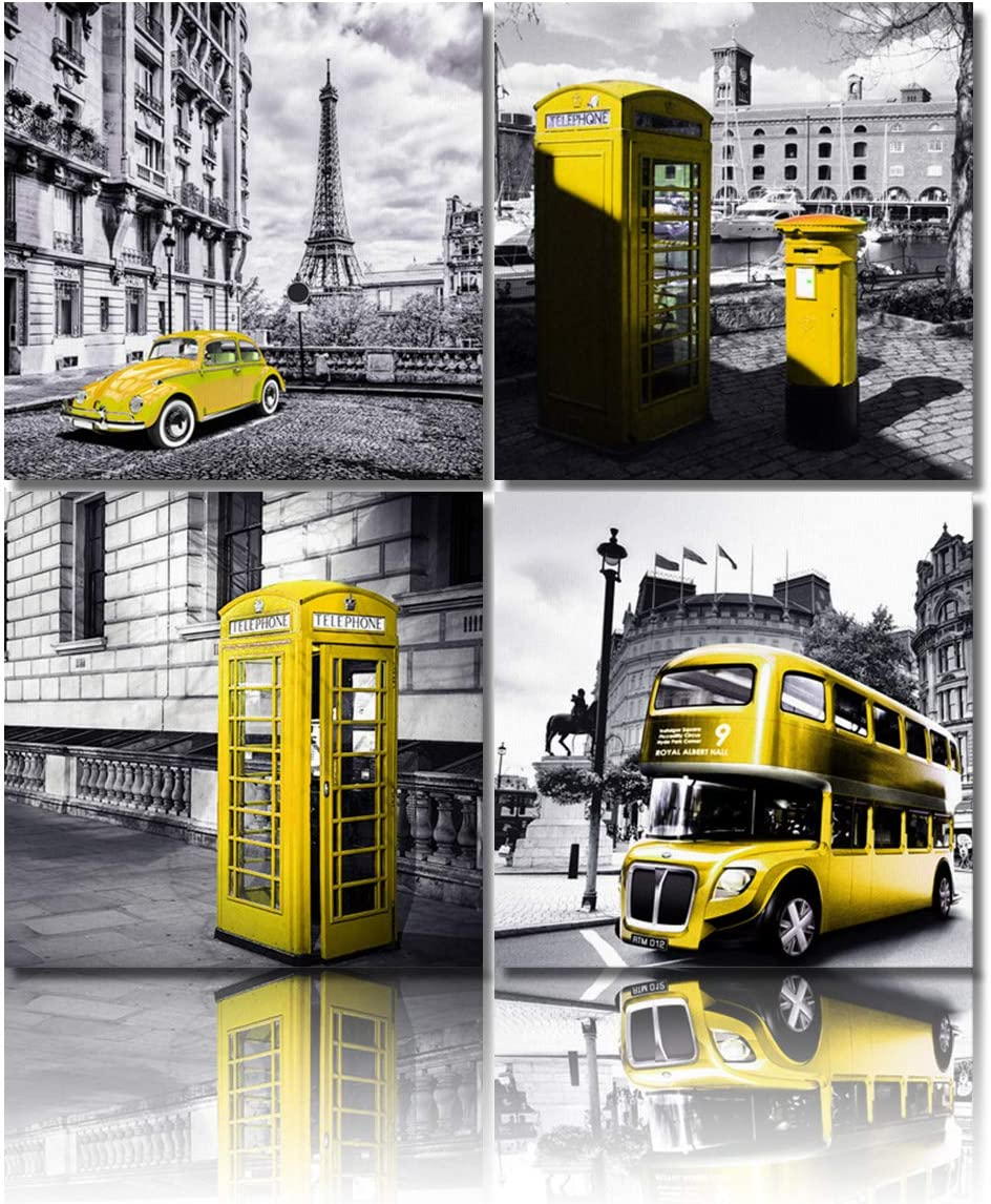4 Panels Large Canvas Wall Art Prints Painting,Modern Paris London Buildings Street Yellow Bus Classic Cars Pictures Black and WhiteArtworks for Living Room Bedroom Kitchen Home Wall Decor,16x16inx4