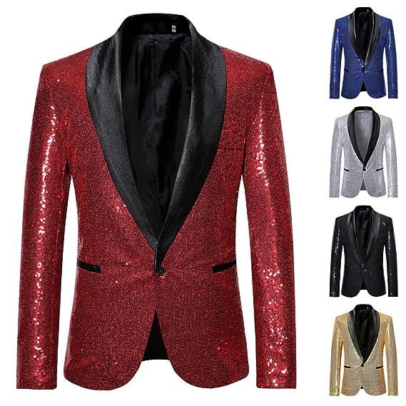 Traje Hombre Lentejuelas Rojo Elegante Blazer Hombre Traje Vestir ...
