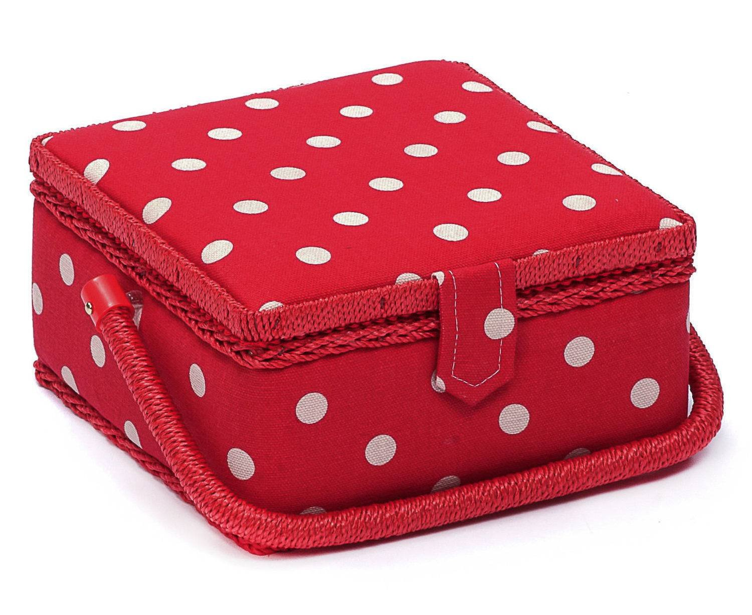 Hobby Gift MRS/19 White Spot Print/Red Small Sewing Storage Box 20 x 20 x 11cm Groves Asia