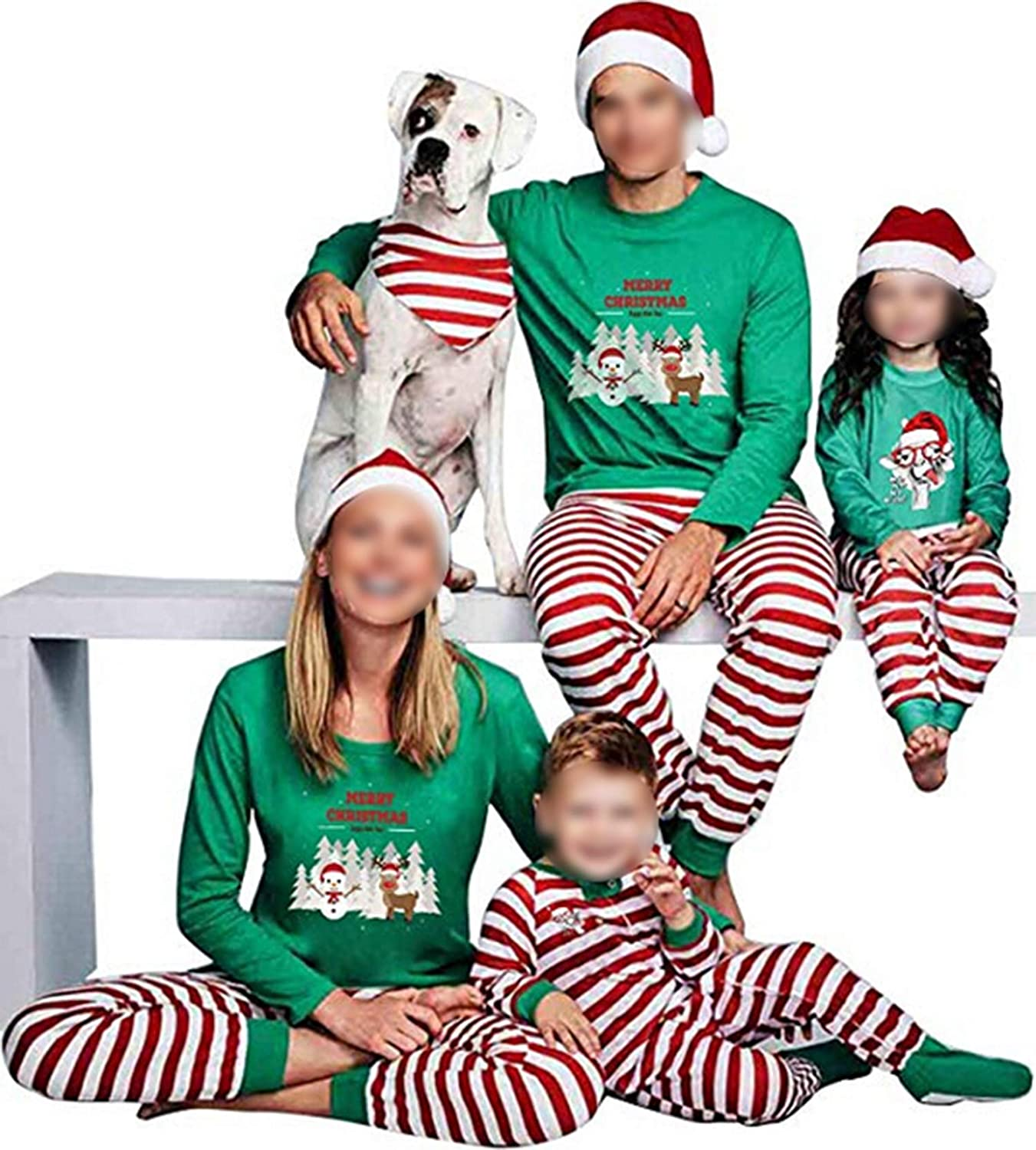 TUSFTAY Christmas Family Matching Pajamas Set Holiday PJs Striped Sleepwear