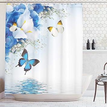 Natur Duschvorhang Bunte Schmetterlinge fliegen Waschbar mit 12Haken 175x200