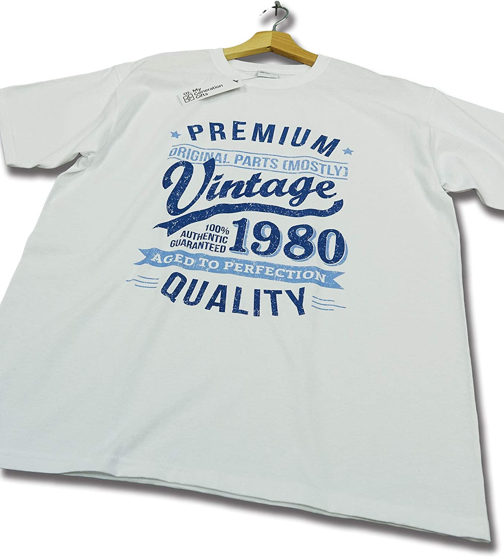 My Generation Gifts 1980 Vintage Year - Aged to Perfection - 40 Cumpleaños Años - Regalo de Cumpleaños Camiseta para Hombre: Amazon.es: Ropa y accesorios