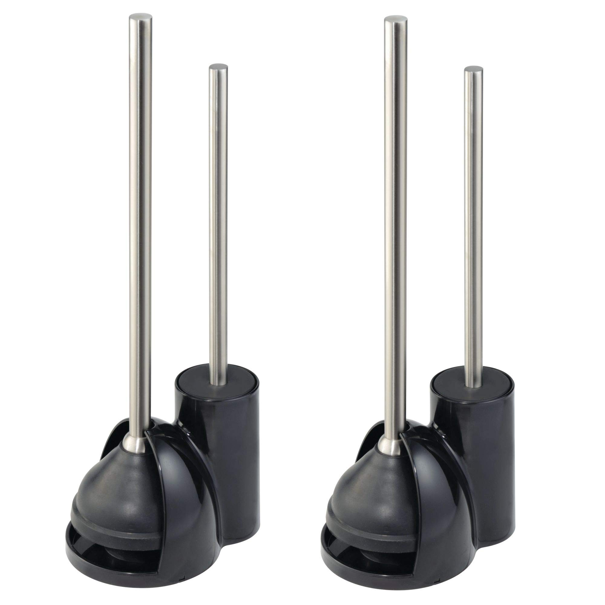 mDesign Modern Slim Compact Freestanding Plastic Toilet Bowl Brush and Plunger Combo Set with Holder for Bathroom Storage- Sturdy, Heavy Duty, Deep Cleaning - Pack of 2, Black/Brushed Stainless Steel