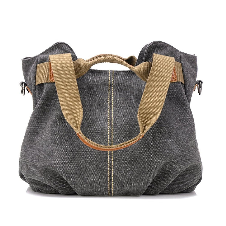 WongSinTong Large Capacity Fashion Canvas Cross Body Handbag Tote Shoulder Bag for Women