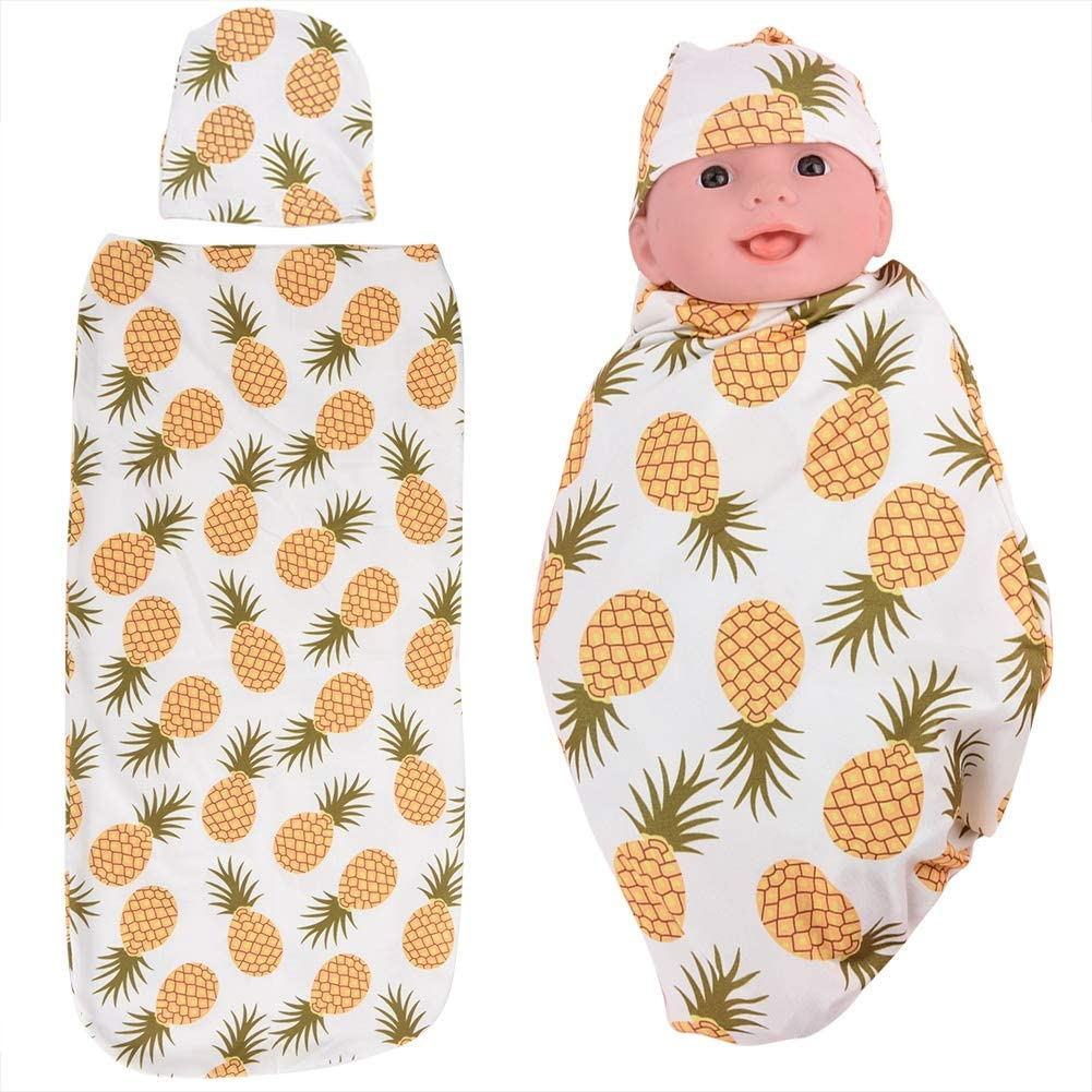 Cow Swaddle Wrap Newborn Receiving Blanket with Hat Set Baby Wrap Receiving Blanket Sleeping Bag Sleep Sack Anti-Shock Soft Clothes for Newborns