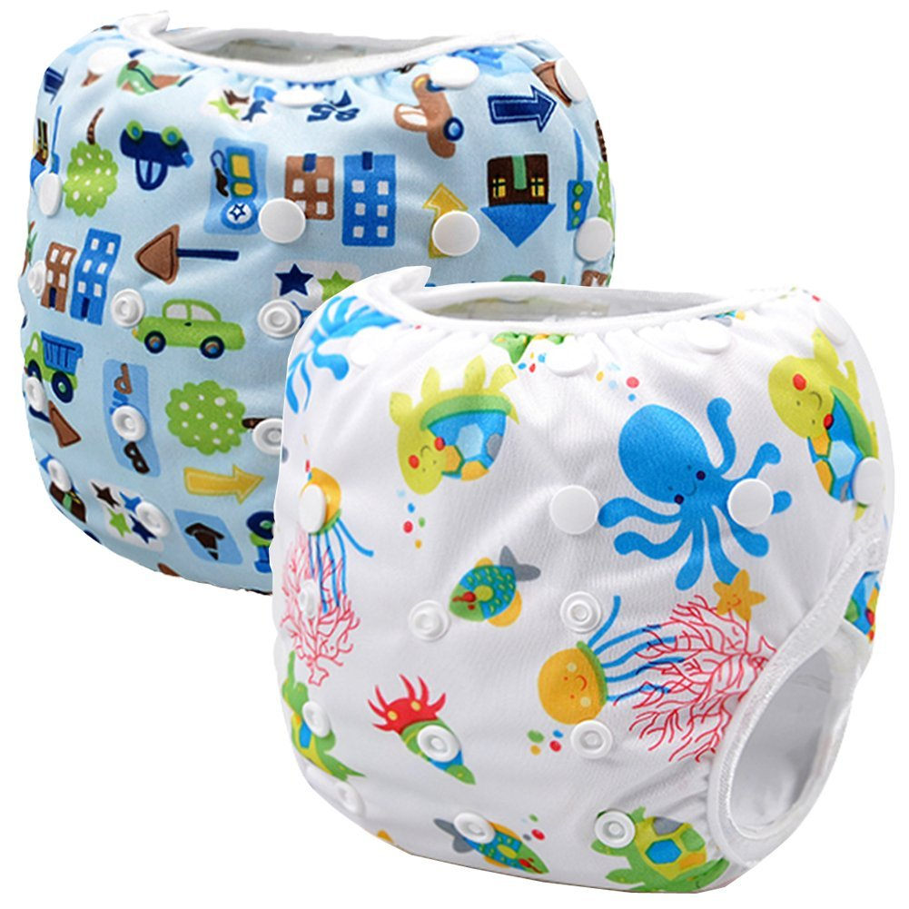 Storeofbaby Reusable Baby Swim Diapers One Size with Adjustable Snaps Pack of 2