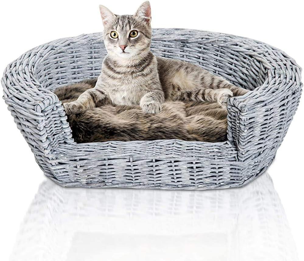 Akelizeng Cama del Gato Cesta de Mimbre para Mascotas Cama portátil con Perro Cachorro de Gato sofá cojín 57L x 46W x cm 17.5H,Grey: Amazon.es: Hogar