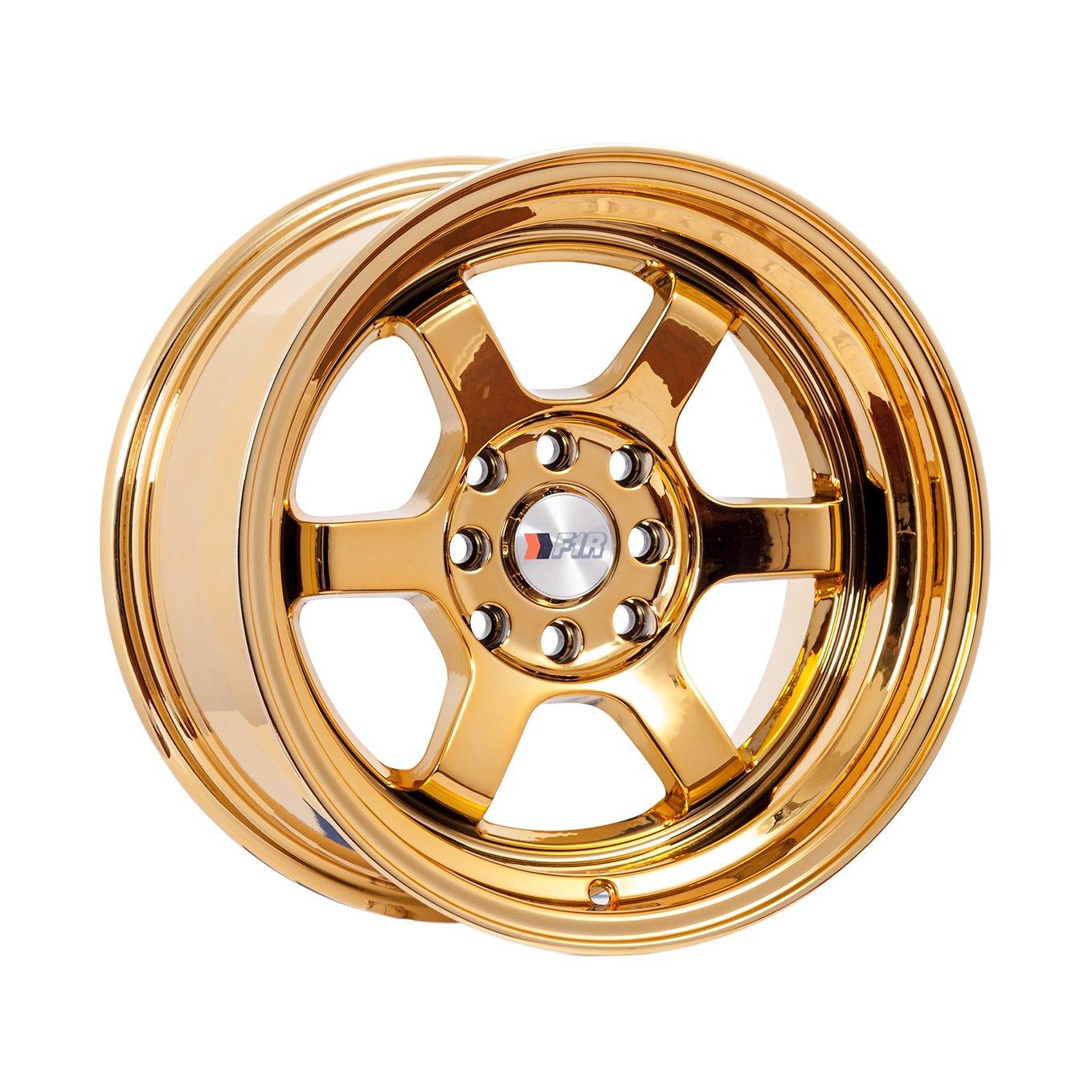 15x8 F1R F05 Gold Chrome Rim Offset(0) Lug(4x100/4x114.3) Bore(67.1) 1 Wheel -- F05158GC0
