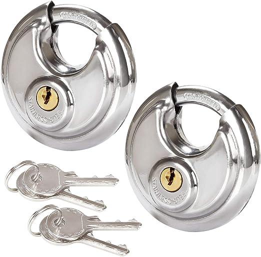 Amazon.com: 2 candados de disco de acero inoxidable para ...