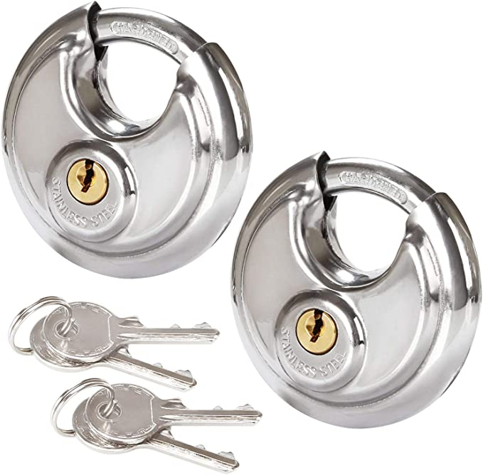 Amazon.com: 2 candados de disco de acero inoxidable para ...