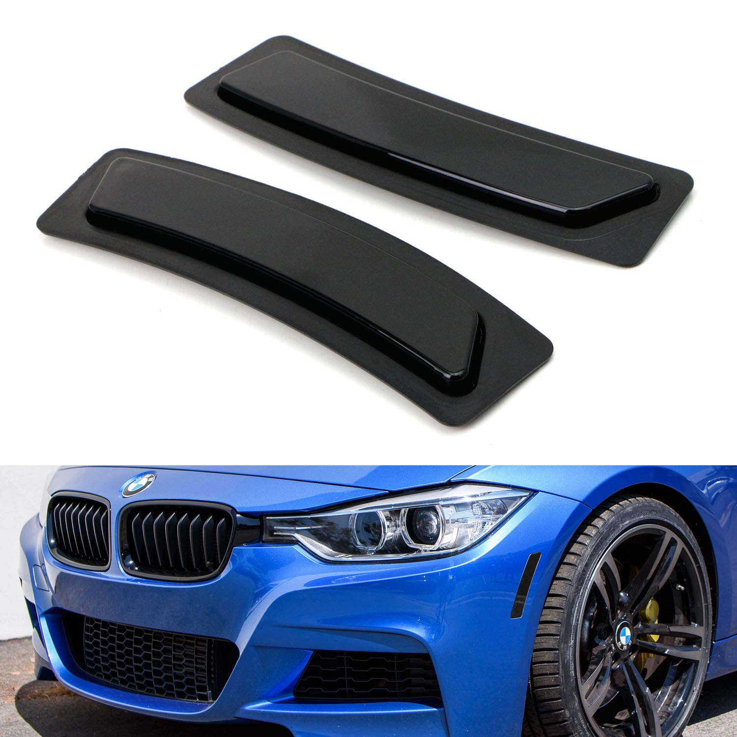 iJDMTOY Glossy Black Smoked Lens Front Bumper Side Markers For 2016-2018 BMW F30 F31 LCI 3 Series 320i 340i, F32 4 Series 420i 428i 435i 440i, Replace OEM Amber Reflector Assy