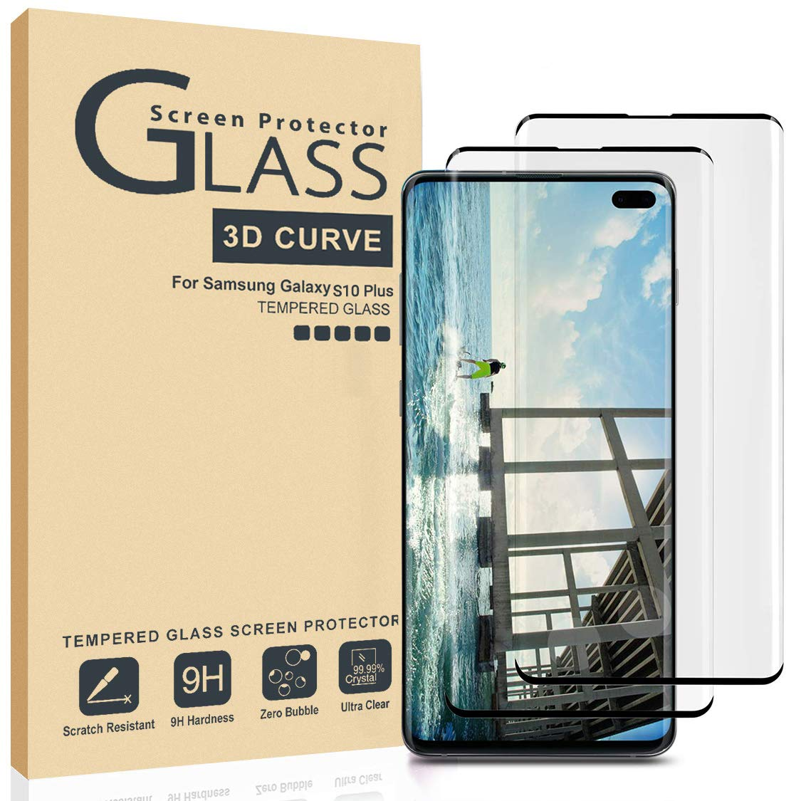 AILIBOTE Glass Screen Protector for Samsung Galaxy S10 Plus,[2 Pack] 3D Curved Tempered Glass, Dot Matrix with Easy Installation Tray, Case Friendly(Black) by AILIBOTE