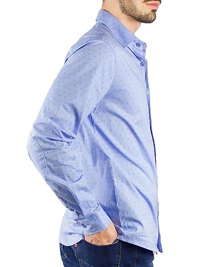 Piel de Toro Slim FIT Estampado Microgeometrico y Coderas, Camisa ...