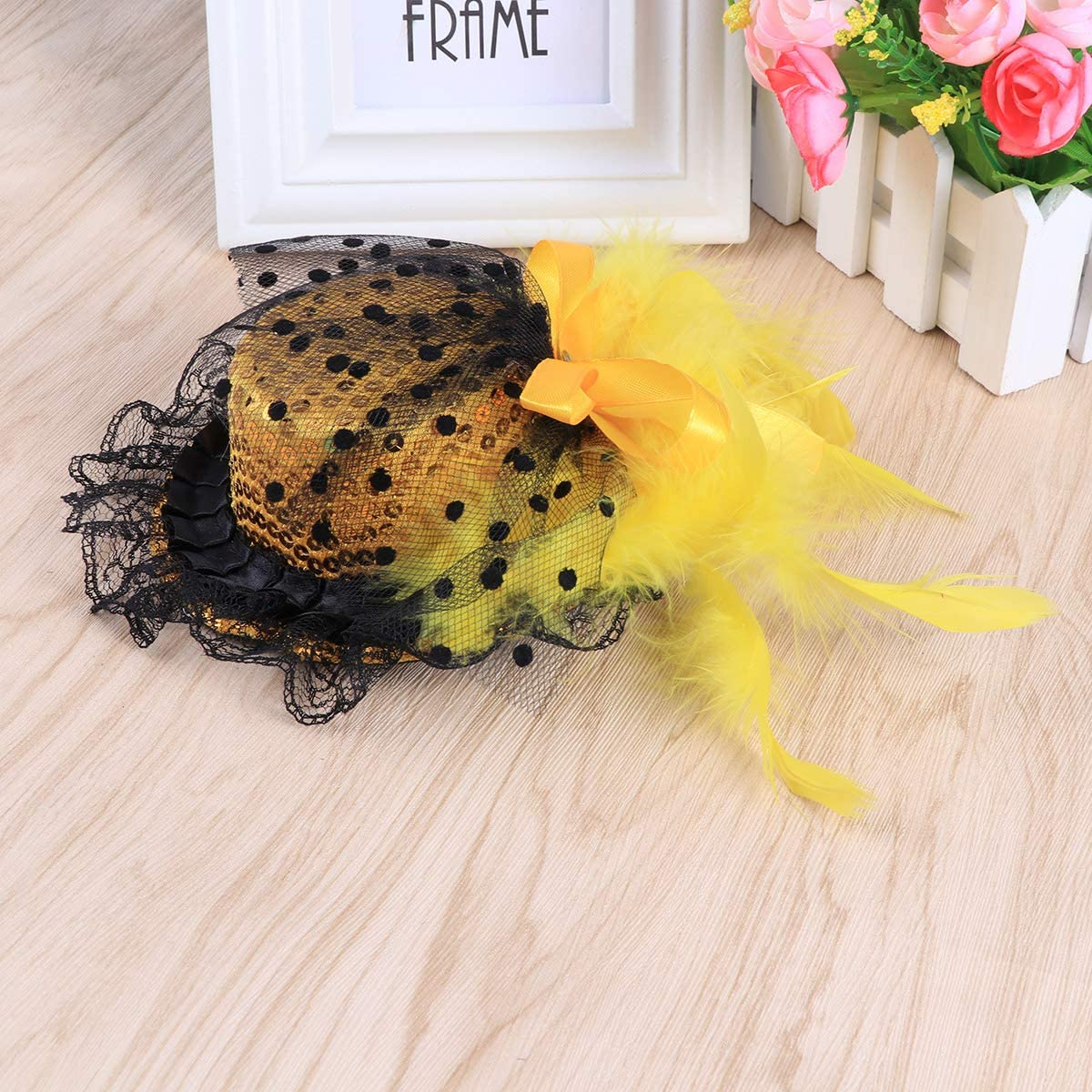 Jaune BESTOYARD Femmes Filles Chapeaux de Plumes Coiffe de Headwear de f/ête avec Clips de Fixation pour Masquerade Cosplay Banquet Stage Performance