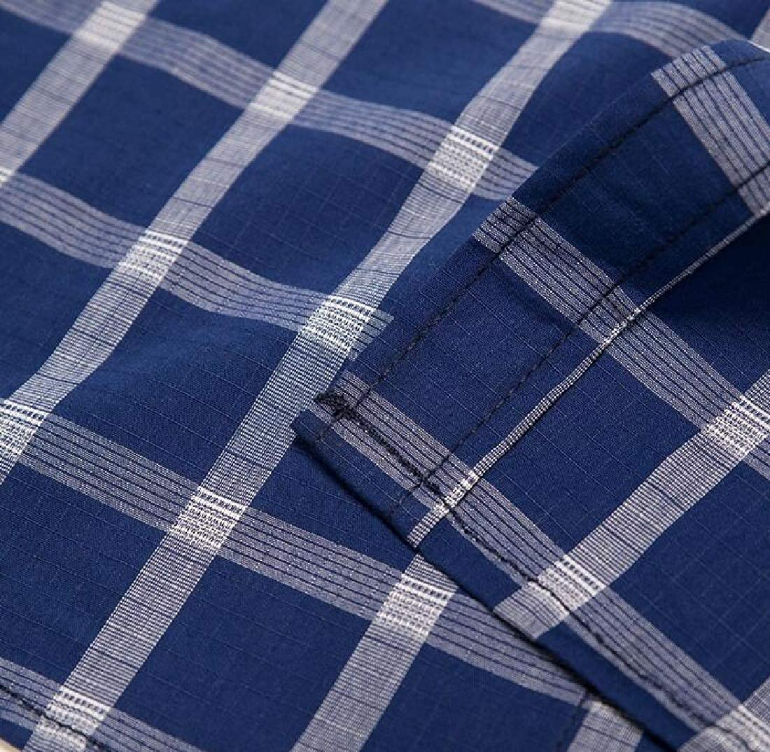 MOUTEN Mens Button Down Casual Business Plaid Printed Long Sleeve Dress Work Shirt