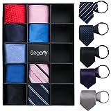 Segarty ネクタイ ワンタッチ 14本入り メンズ 快適な既製のジッパーネクタイセット、ビジネス、フォーマル、ウェディング用 無地 花柄など様々なパターン スキニー織シルクネクタイ