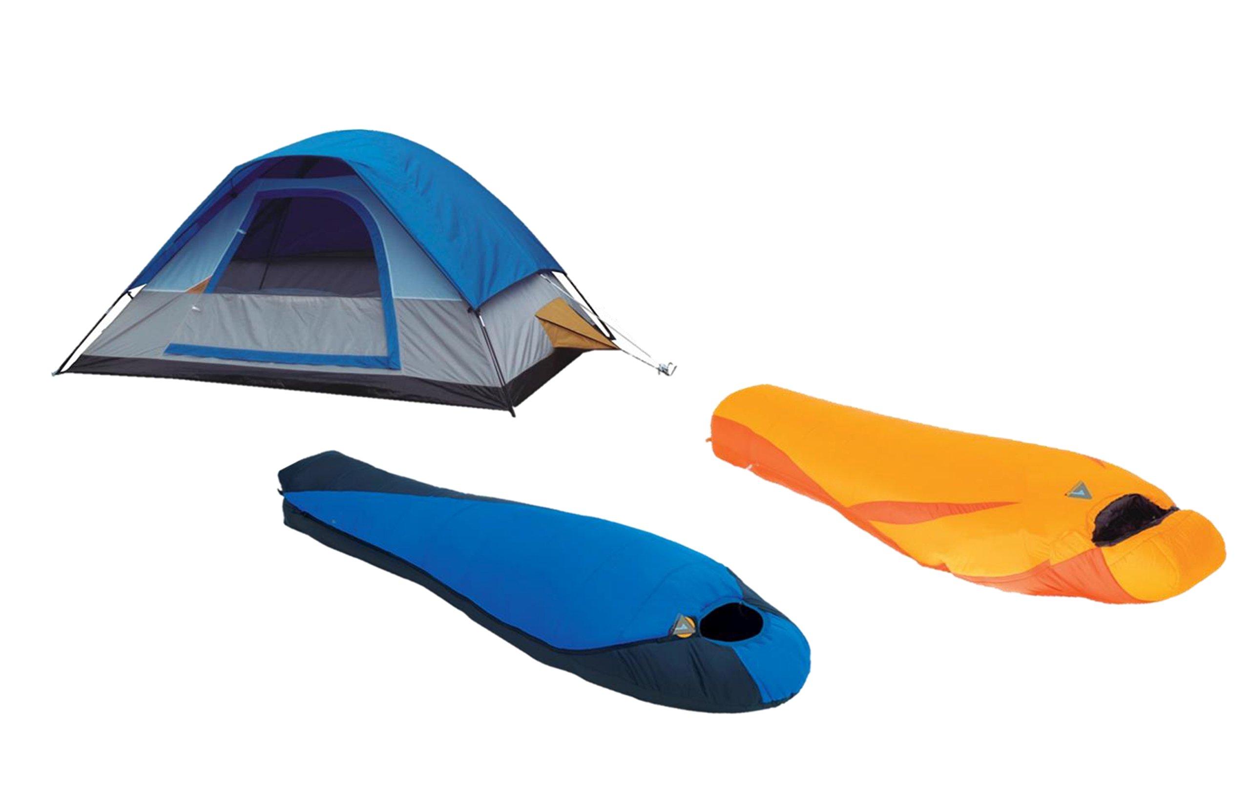 High Peak USA Alpinizmo Extreme Pak 0F & Latitude 20F Sleeping Bag with Tent Combo Set, One Size, Blue/Orange by Alpinizmo