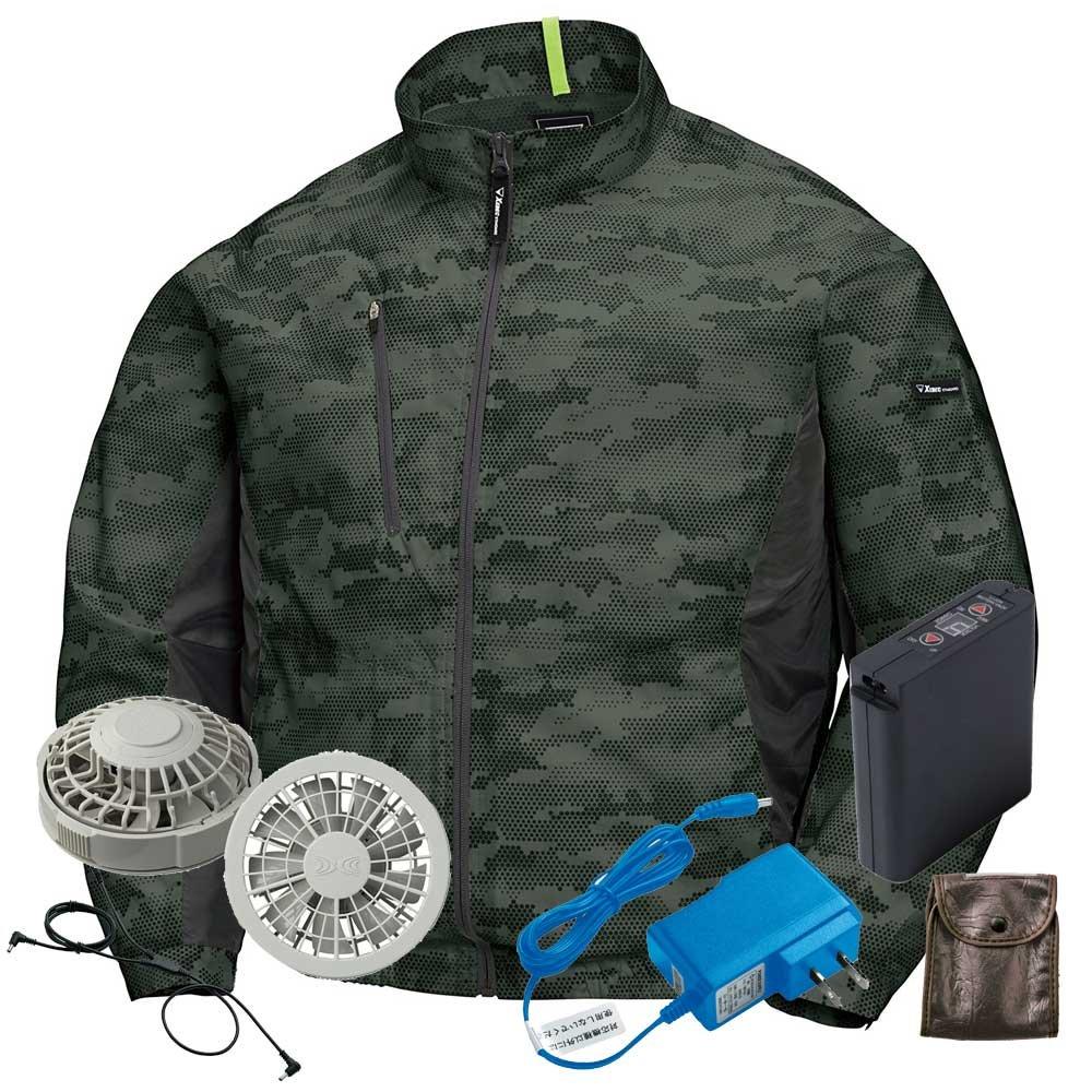 ジーベック 空調服 迷彩長袖ブルゾンファンバッテリーセット XE98005ファンのカラー:グレー B07BK2RYNZ 4L|62アーミーグリーン 62アーミーグリーン 4L
