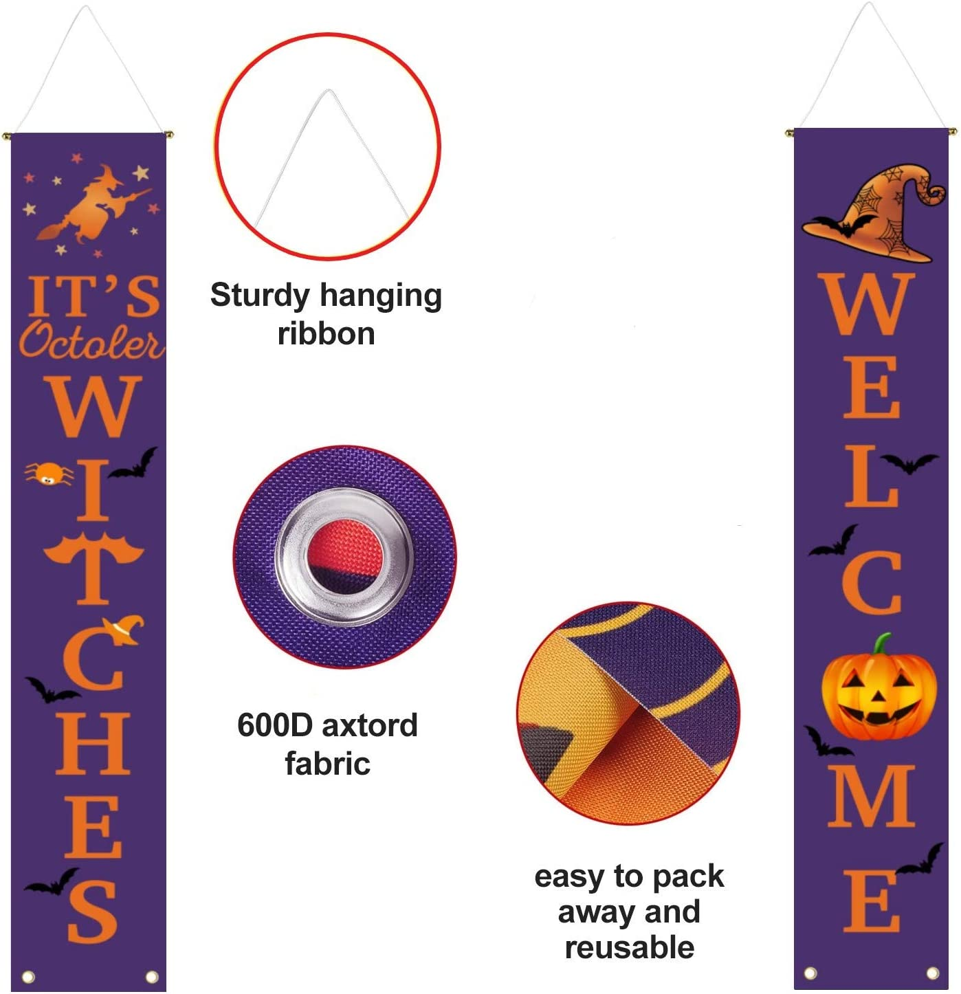cxwind Halloween Decorations Outdoor Witch Decor for Home Outside Door Yard Garden Party Apartment Welcome IT/'S October Witches Large Banners Porch Signs