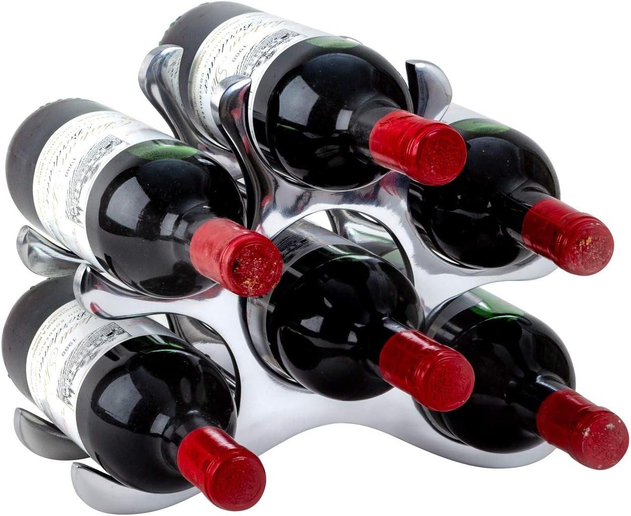 Lifestyle /& More Modernes Weinregal Flaschenhalter zur Ablage von 6 Flaschen aus Metall H/öhe 22 cm Breite 28 cm
