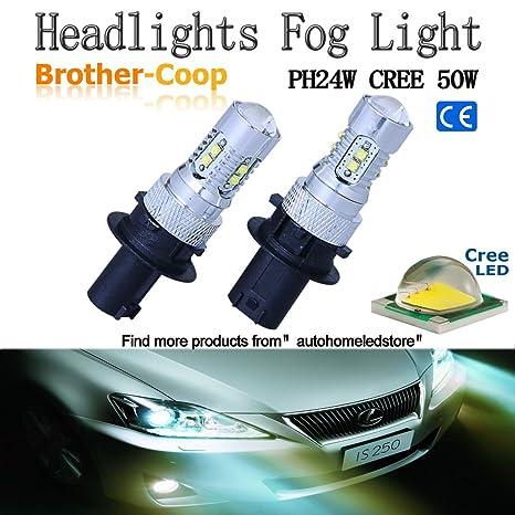 2pcs x brothercoop ph24 W ph24wy sph24 50 W CREE LED bombillas para audi Cadillac GMC
