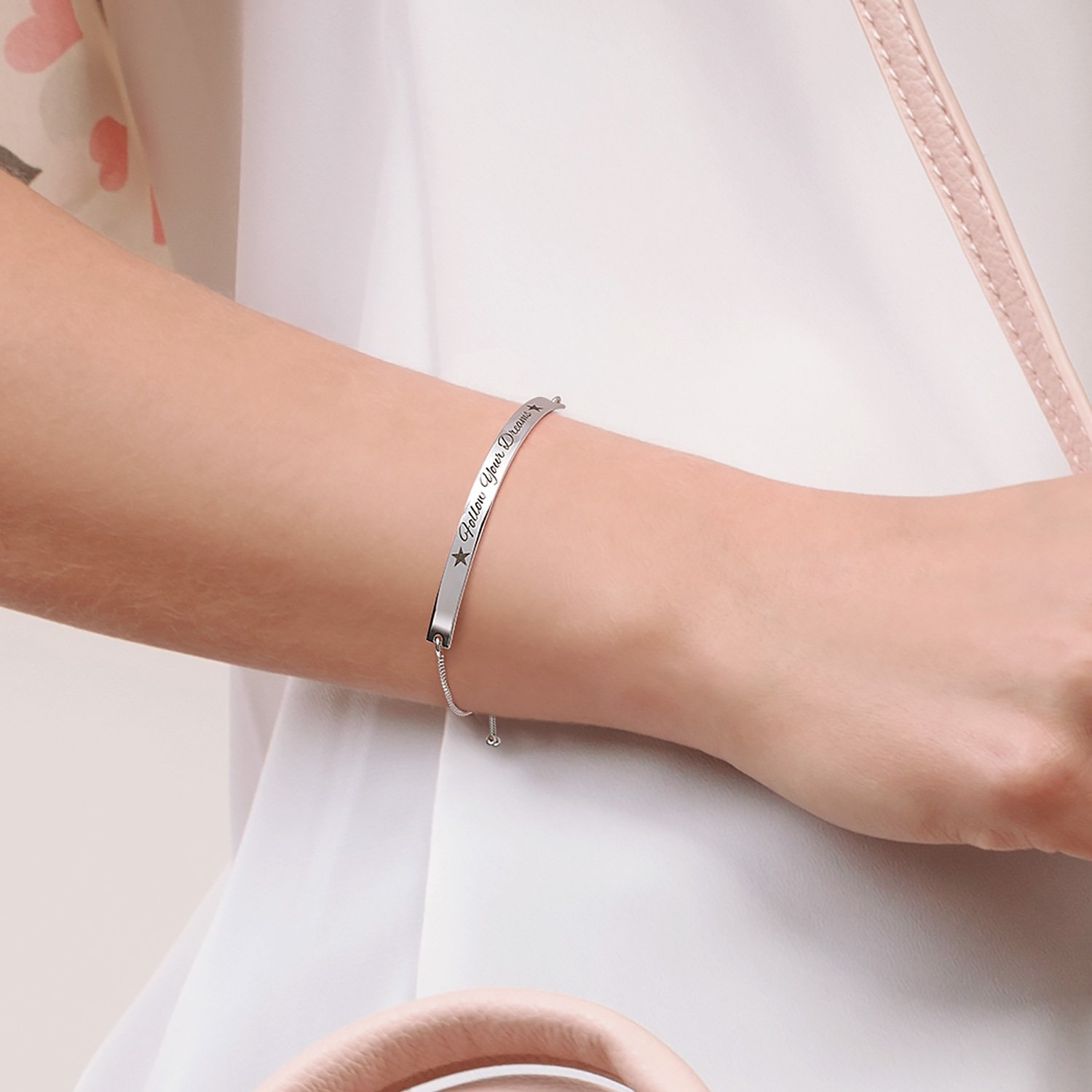 Follow Your Dreams Inspirational Message Bolo Bar Bracelet Adjustable 925 Silver 11 Inch by Bling Jewelry (Image #3)