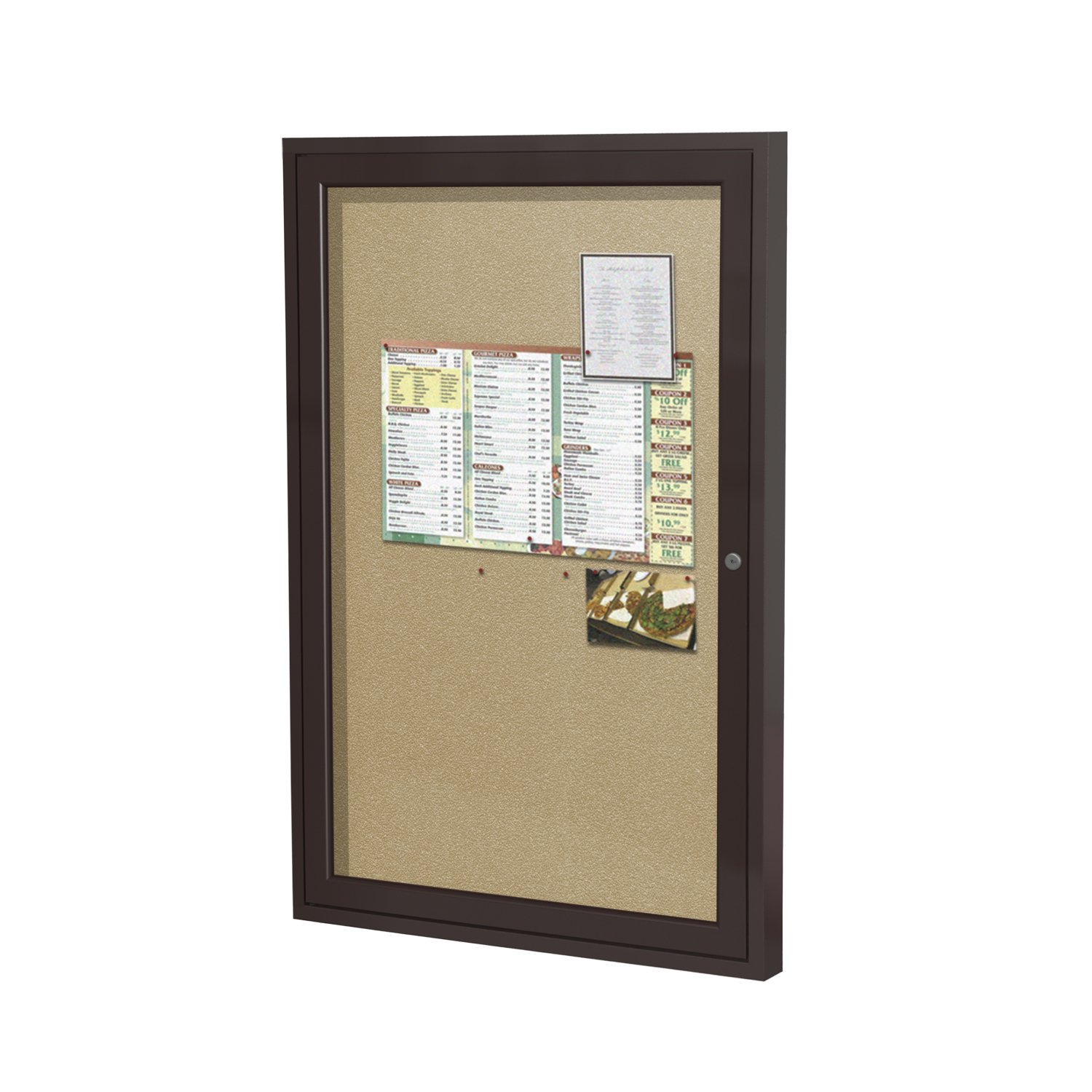 Ghent 36''x30''  1-Door Outdoor Enclosed Vinyl Bulletin Board, Shatter Resistant, with Lock, Bronze Aluminum Frame  - Caramel (PB13630VX-181), Made in the USA