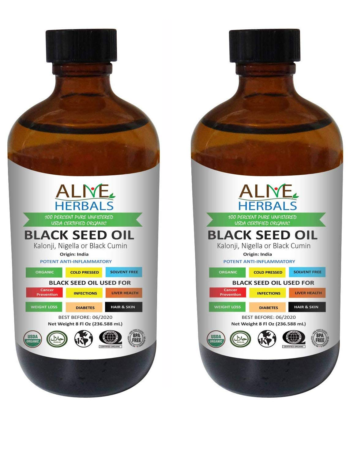 Alive Herbals Black Seed Oil Organic Cold Pressed - 100% Raw Unfiltered, Vegan & Non-GMO, No Preservatives & Artificial Color. Amber Glass (8 OZ Glass bottle Pack of 2)
