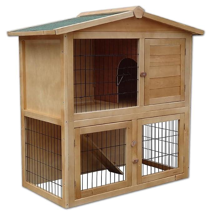 71 opinioni per Dibea RH10011, Stalla in legno per piccolo animali, 2piani gabbia, 3porte, 98