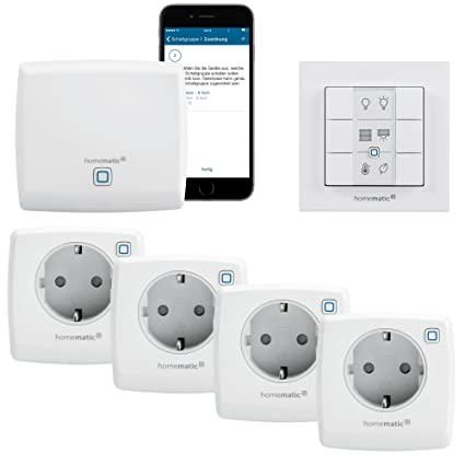 Homematic IP - Smart Home Starter Kit Steckdosen mit App, Wandtaster und Alexa kompatibel | Zentrale, 4 x Intelligente Steckd