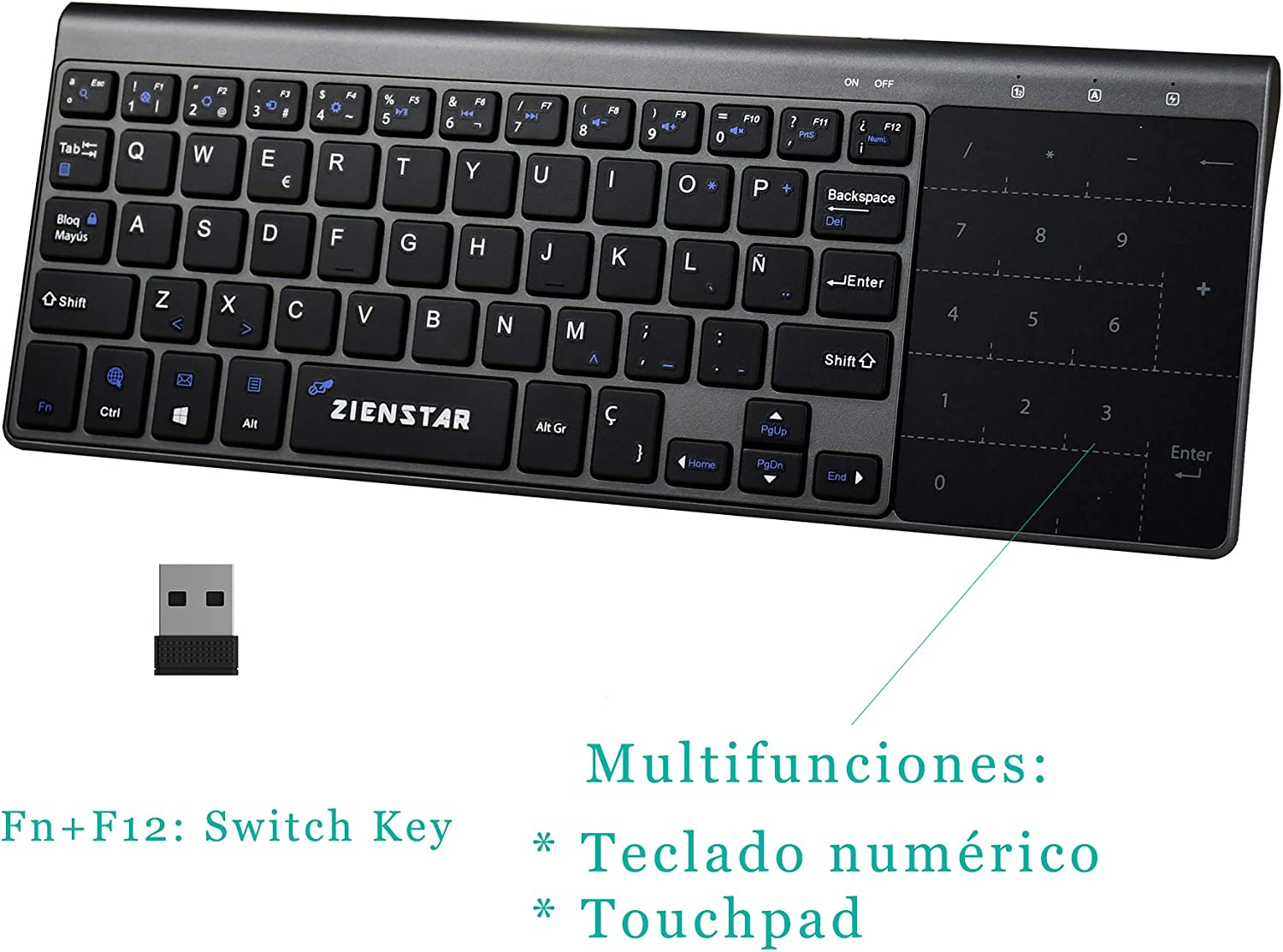 Zienstar-2.4Ghz Mini Teclado Inalámbrico con Touchpad y Teclado Numérico, Receptor USB para Smart TV, Android TV Box, HTPC, IPTV, XBOX360, PS3, PC, etc- Español