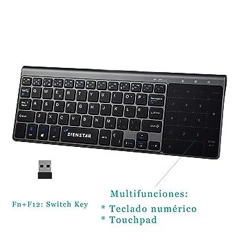 Zienstar-2.4Ghz Mini Teclado Inalámbrico con Touchpad y Teclado Numérico, Receptor USB para