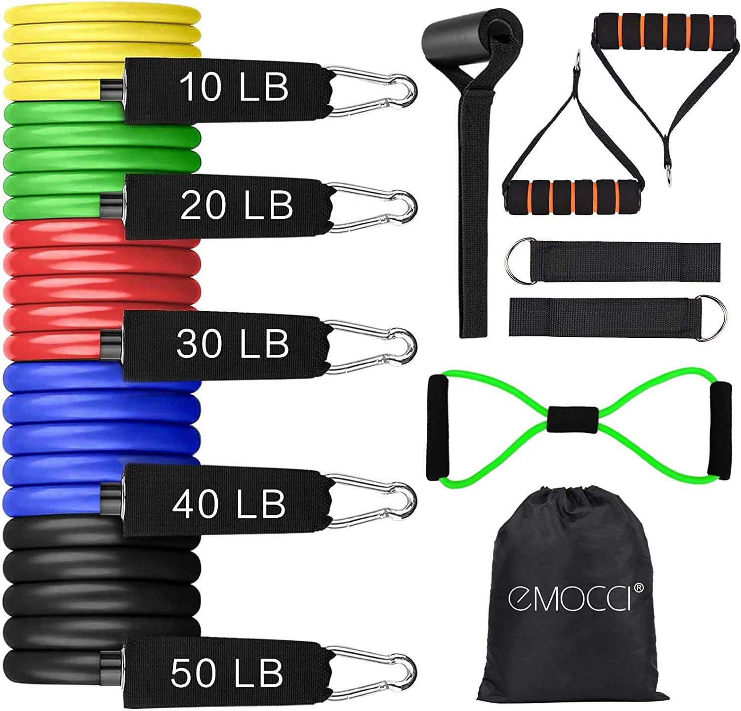 EMOCCI Resistance Bands Set with Handle,Fabric Exercise Band Door Anchor Weight Training Stretching Strap for Women Men Home Fitness Yoga Gym Workout Equipment with Carry Bag(12pcs,150 LB)
