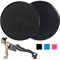 Dual Sided Core Exercise Sliders Gym Gliding Discs Fitness Stretch Yoga Pilates, for Carpet or Hardwood Floors, Compact for Travel or Home with Carry Bag