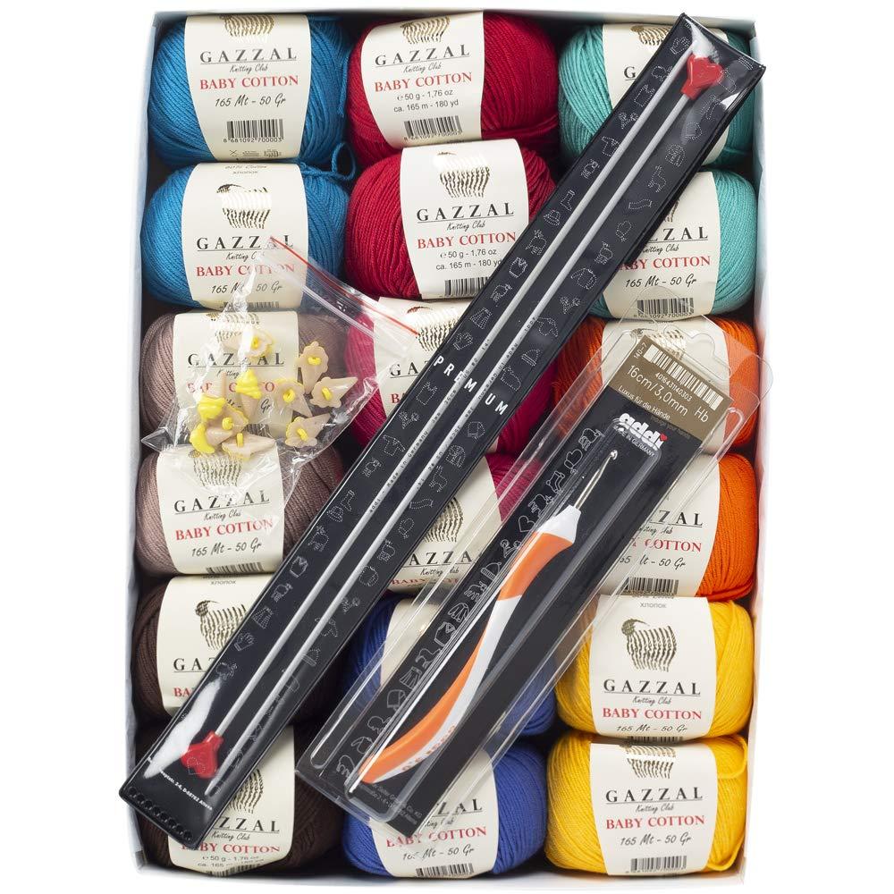 Gazzal Baby Cotton Gift Set - Spring-Summer 18 Balls of Assorted Colors Gazzal Baby Cotton Knitting Yarn, 60% Cotton 40% Acrylic, 50 g (1.76 oz) / 165 m (180 yds), Yarn Weight: 2 : Fine-Sport - Spring