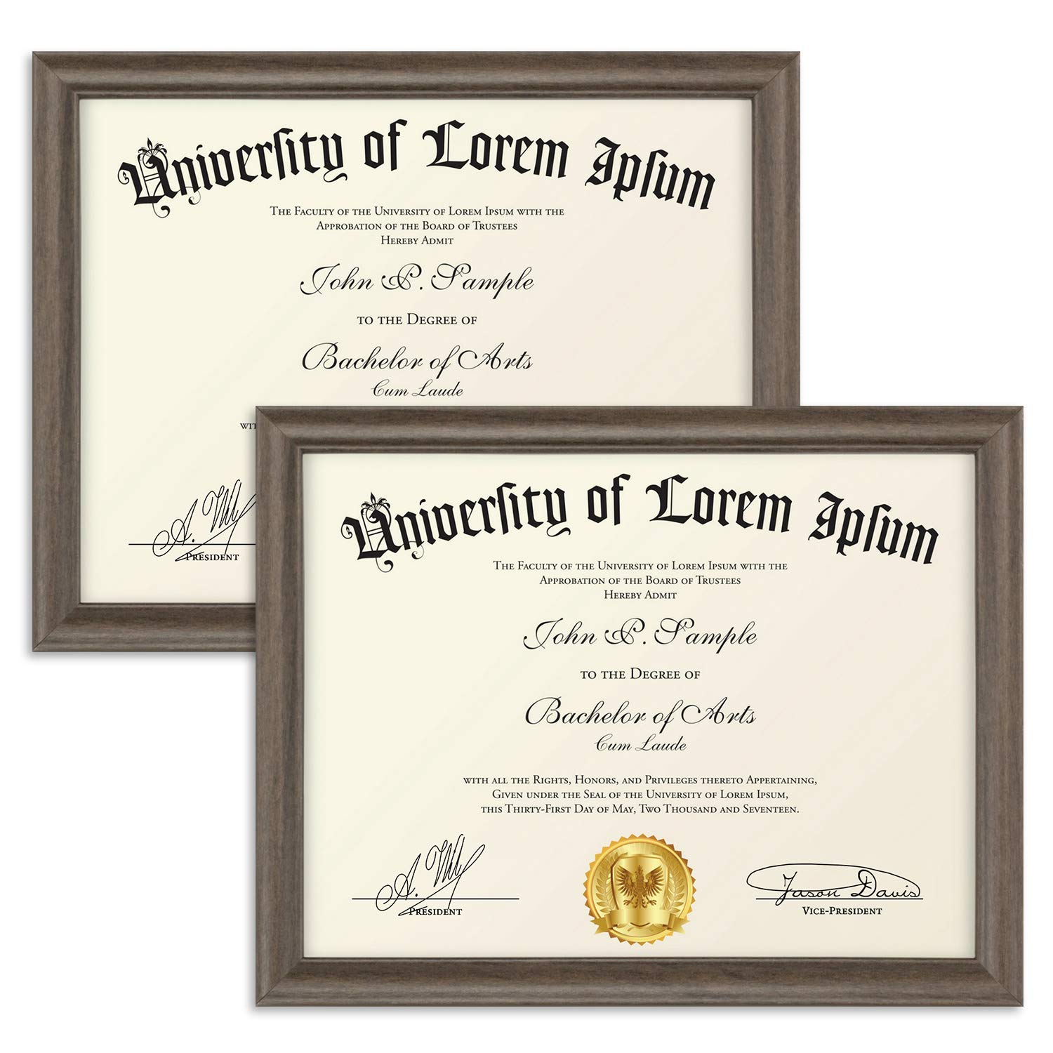 Icona Bay 8.5x11 Diploma Frame (2 Pack, Hickory Brown), Certificate Frame, Document Frame, Composite Wood Frame for Walls or Tables, Set of 2 Lakeland Collection by Icona Bay