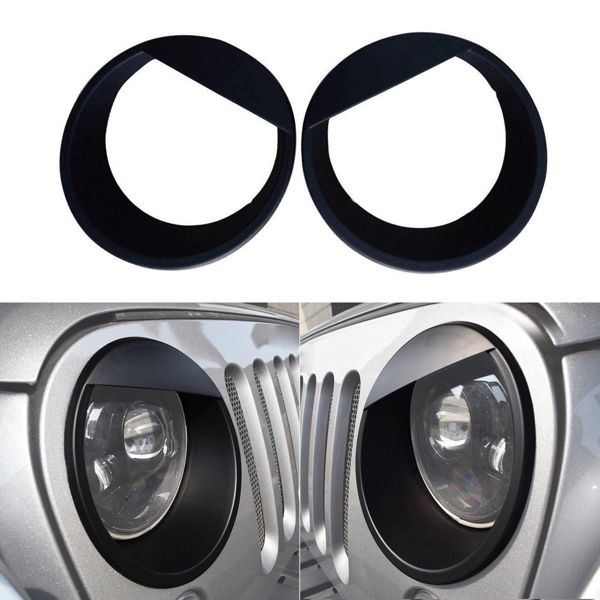 ICarszone ICARS Black Front Headlight Trim Cover Bezels Pair Jeep Wrangler Rubicon Sahara Sport JK Unlimited Accessories 2 Door 4 Door 2007-2018 CarsHome
