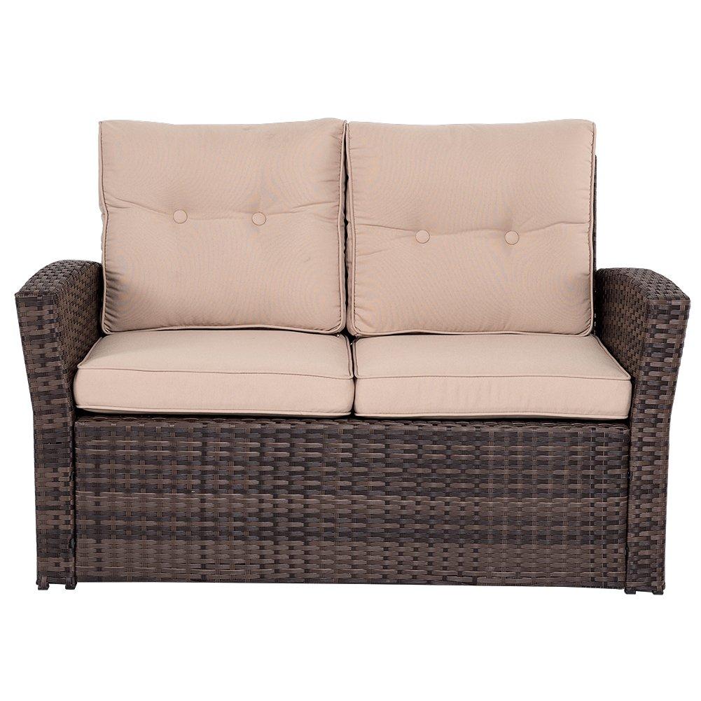 Outdoor furniture wicker - Amazon Com Sundale Outdoor 5 Pieces Wicker Patio Garden Furniture Conversation Set With Conner Storage Patio Lawn Garden