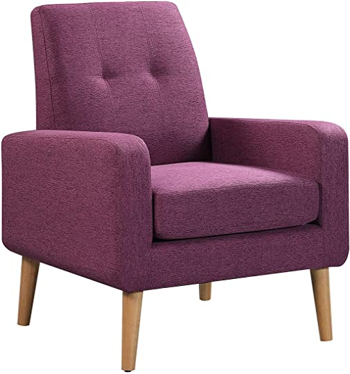 Purple Modern Accent Chair Single Linen Sofa